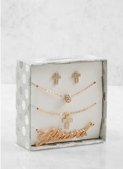 Blessed Rhinestone Necklaces and Earrings Box Set - 1123024131099