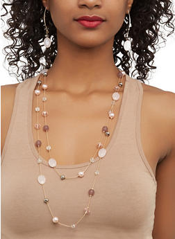Beaded Necklace with Threader Earrings - 1123035155025