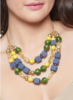 Large Beaded Necklace and Earrings - 1123035155458