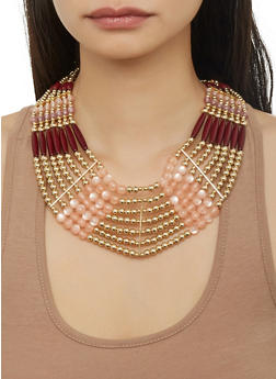 Multi Beaded Necklace and Drop Earrings Set - 1123035157307