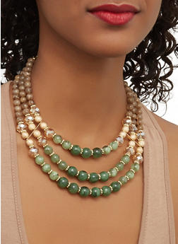 Beaded Necklace with Drop Earrings - 1123035158553