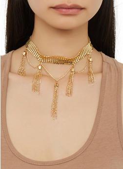 Metal Mesh Tassel Choker and Earrings - 1123057692117