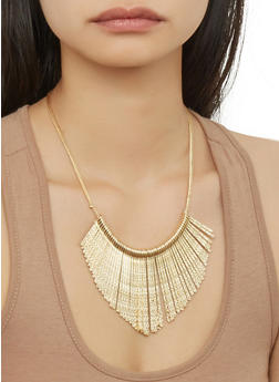 Metallic Stick Necklace with Cuff Bracelet and Hoop Earrings - 1123057694684