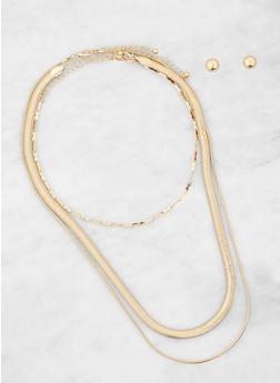 Metallic Necklaces with Stud Earrings - 1123057694759