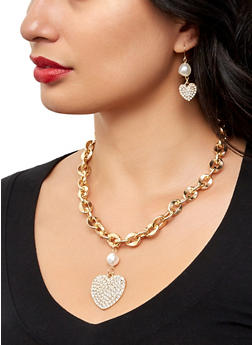 Faux Pearl Heart Chain Necklace and Earrings Set - 1123057695312