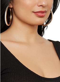 Layered Charm Necklace and Hoop Earrings - 1123057696012