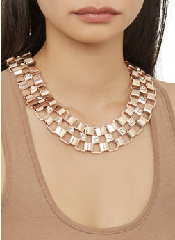 Metallic Chain Link Necklace with Cuff Bracelet and Hoop Earrings - 1123057698032
