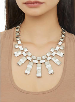 Glitter Necklace with Cuff Bracelet and Hoop Earrings - 1123057698370