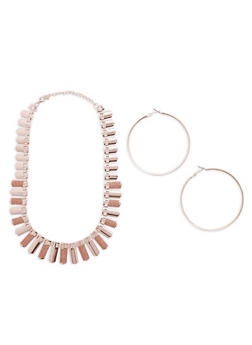 Flat Glitter Metallic Necklace with Hoop Earrings - 1123057698983