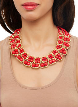 Beaded Necklace with Matching Drop Earrings - 1123059631521
