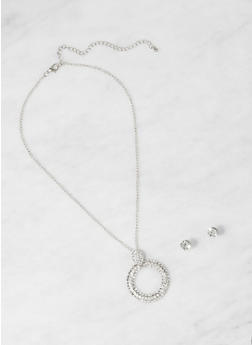 Rhinestone O Ring Necklace with Stud Earrings - 1123059631844