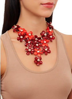 Flower Bib Chain Necklace with Teardrop Earrings - 1123059635347