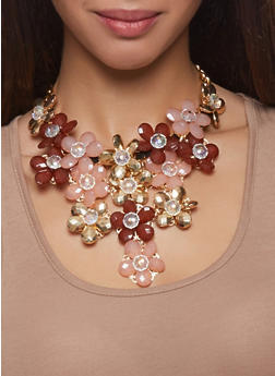 Flower Bib Curb Chain Necklace with Teardrop Earrings - 1123059635484