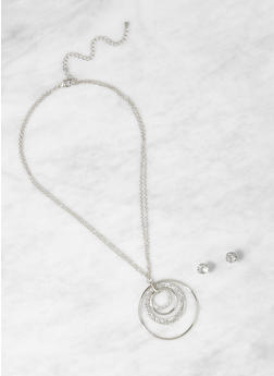 Rhinestone O Ring Necklace with Stud Earrings - 1123059635961
