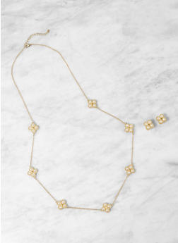 Faux Pearl Necklace with Earrings - 1123059635962