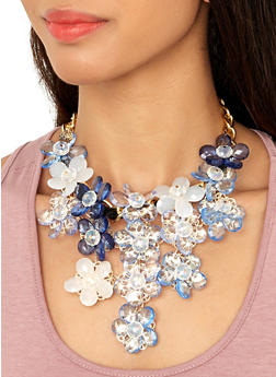 Blue Flower Necklace and Earrings - 1123059636545