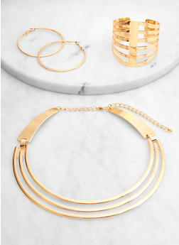 Metallic Caged Collar Necklace and Cuff with Hoop Earrings - 1123062811490
