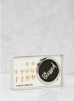 Blessed Compact Mirror with Assorted Stud Earrings - 1123062920033