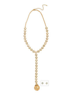 Rhinestone Y Necklace with Ball Charm and Stud Earrings - 1123062920061