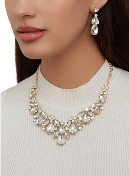 Rhinestone Statement Necklace with Earrings - 1123062920212