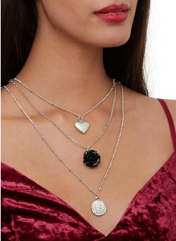 Layered Rose Charm Necklace with Stud Earrings Set - 1123062920657