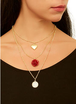 Layered Charm Necklace with Stud Earrings Set - 1123062920657