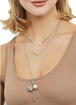 Layered Charm Necklace and Stud Earrings Set - 1123062920662