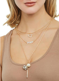 Layered Rhinestone Ball Charm Necklace and Stud Earrings Set - 1123062920662