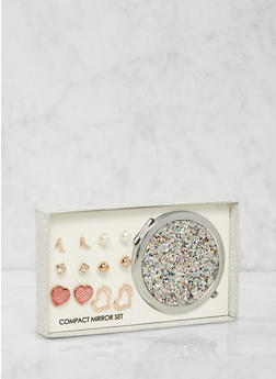 Glitter Compact Mirror with Assorted Stud Earrings - 1123062921033