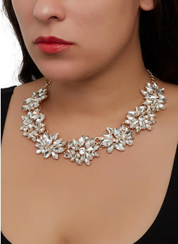 Statement Rhinestone Necklace - 1123062921414