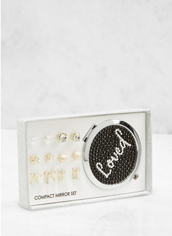 Loved Compact Mirror with Assorted Stud Earrings - 1123062921516
