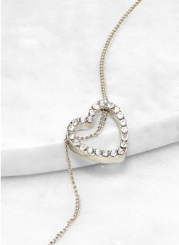 Rhinestone Heart Charm Necklace - 1123062921645