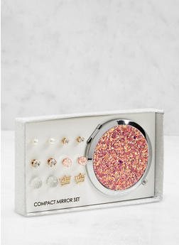 Glitter Compact Mirror with Assorted Stud Earrings - 1123062922033
