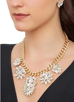 Gem Curb Chain Necklace with Stud Earrings - 1123062922801