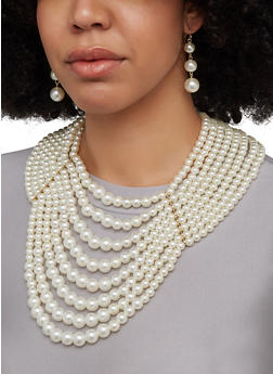 Faux Pearl Layered Necklace and Drop Earrings - 1123062922879