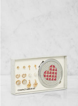 Heart Compact Mirror with Assorted Stud Earrings - 1123062923327