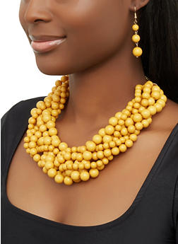 Braided Bead Necklace with Earrings - 1123062923363