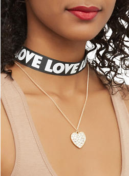 Love Ribbon Choker Set - 1123062923461