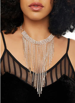 Rhinestone Fringe Choker and Earrings Set - 1123062923495