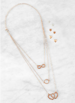 Layered Infinity Charm Necklace with Stud Earrings - 1123062924903