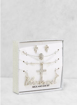 Blessed Necklaces and Stud Earrings Box Set - 1123062925023