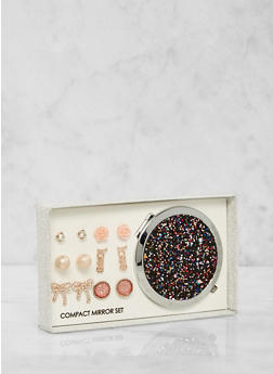 Glitter Compact Mirror with Assorted Stud Earrings - 1123062925223