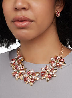 Rhinestone Flower Statement Necklace with Stud Earrings - 1123062925367