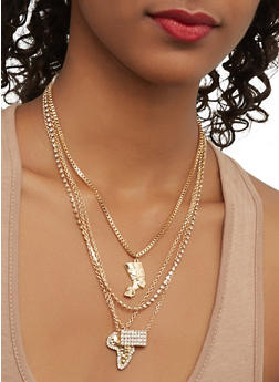 Layered Charm Necklace with Stud Earrings - 1123062926012
