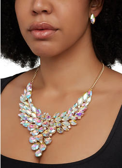 Jeweled Statement Necklace and Stud Earrings - 1123062926017