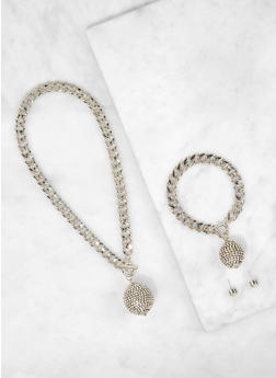 Disco Ball Curb Chain Necklace with Bracelet and Earrings - 1123062926097