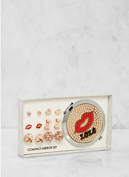 Lips Compact Mirror with Assorted Stud Earrings - 1123062926223