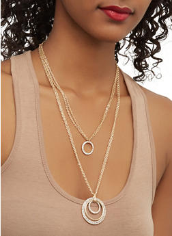 Layered O Ring Necklace with Drop Earrings - 1123062926568