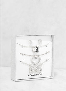 Rhinestone Necklaces and Stud Earrings Box Set - 1123062927023