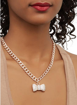 Set of 3 Charm Necklaces with Stud Earrings - 1123062927115